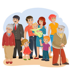 happy family - great-grandfather great vector image