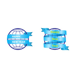 happy new year on the background of the globe vector image