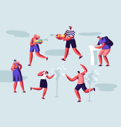 happy people splashing and playing with water vector image