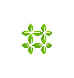 hashtag symbol eco leaves logo icon design vector image