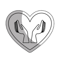 Heart with hands human icon vector