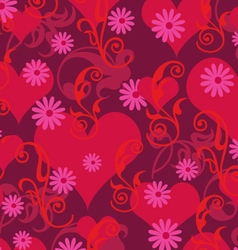 Hearts and scrolls vector