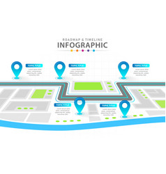 infographic 6 steps timeline diagram city roadmap vector image