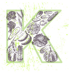 ink hand drawn fruits and vegetables vitamin k vector image