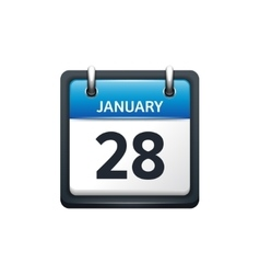 January 28 calendar icon flat vector