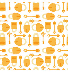 Key and lock seamless pattern isolated on white vector