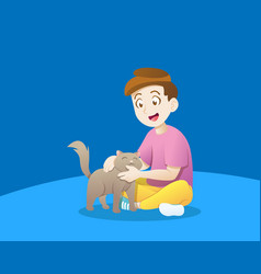 kid playing with a cat vector image