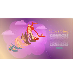 ladies shoes shop with high heel woman shoes vector image