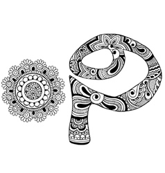 letter P decorated in the style of mehndi vector image