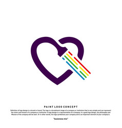 love paint logo design concept colorful heart vector image