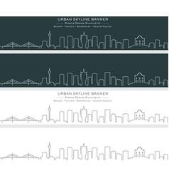 macau single line skyline banner vector image