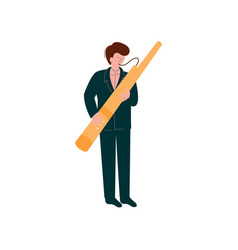 Man playing traditional bassoon musician playing vector