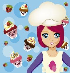 Manga girl chef 2 vector