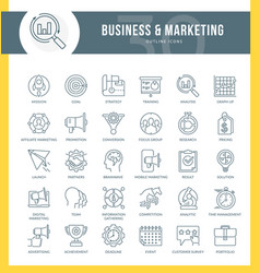 marketing outline icons vector image
