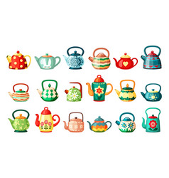 modern and vintage teapots drawings set wavy vector image
