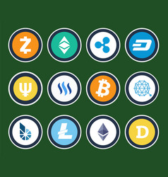 Modern cryptocurrency signs inside circles set vector