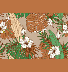 modern exotic seamless pattern tropical green vector image