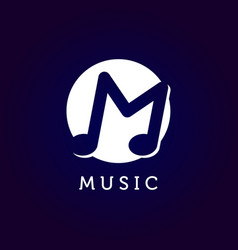 music logo with letter m symbol in negative space vector image