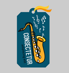 music tag with saxophone vector image