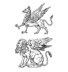 Mythological animals mythical sphinx and antique vector
