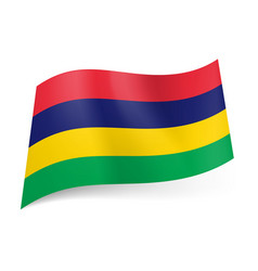 national flag of mauritius red blue yellow and vector image