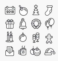 new year linear christmas icon set 2018 vector image