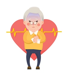 Old Man Heart Attack Chest Pain Cartoon Character vector