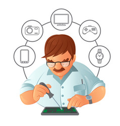 old mustachioed repairman in glasses repairing vector image