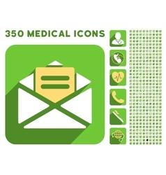 Open Mail Icon and Medical Longshadow Icon Set vector image