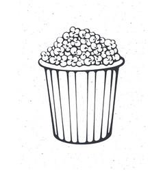 Outline bucket full popcorn vector
