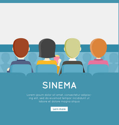 People in cinema hall vector