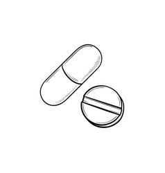 Pills hand drawn outline doodle icon vector