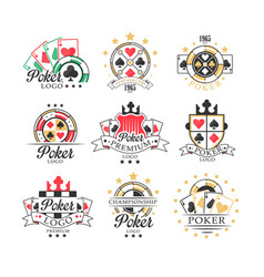poker logo set vintage emblems for poker club vector image