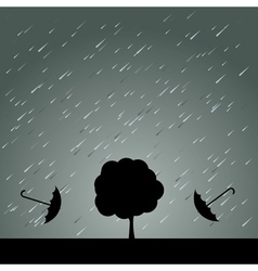 Rain Umbrella and Tree vector image