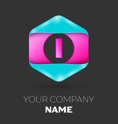 realistic letter i logo in colorful hexagonal vector image