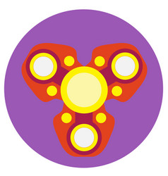 Red spinner with yellow circles a flat style vector