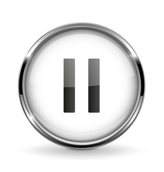 Round 3d button with metal frame pause icon vector