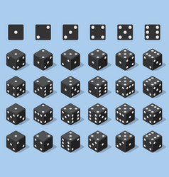 Set 24 authentic icons dice in all possible vector
