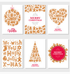 Set christmas cards with gingerbread cookies vector