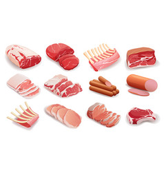 Set meat products in flat style cooking vector