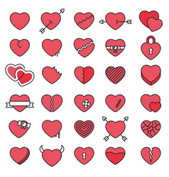 Set of 30 simple icons hearts for valentines day vector