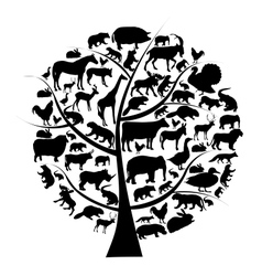 set of animals silhouette on tree vector image