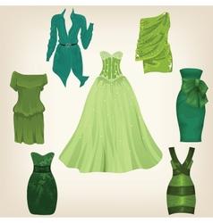 Set of beautiful green dresses vector image