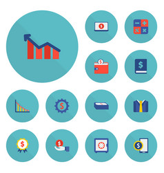 set of financial icons flat style symbols with set vector image