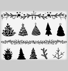 set of fir-trees and garlands vector image