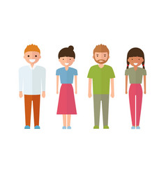 Set of style young people in cartoon style vector