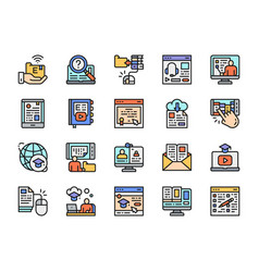 set online education color line icons library vector image