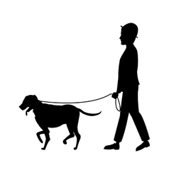 Silhouette man and dog walking vector