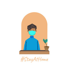 Stay at home with male cartoon vector