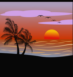 sunsetsunrise on a beach with palms vector image